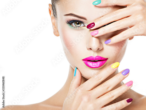 Cuadros en Lienzo beautiful woman  with colored nails