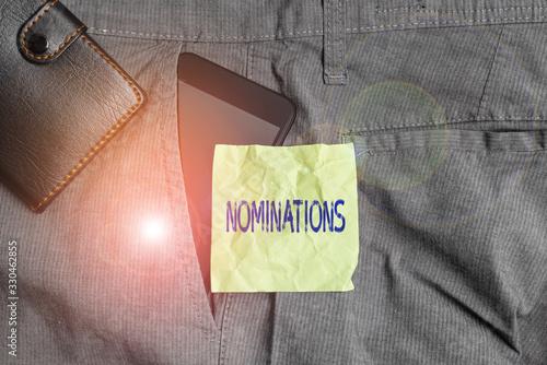 Handwriting text writing Nominations Canvas Print