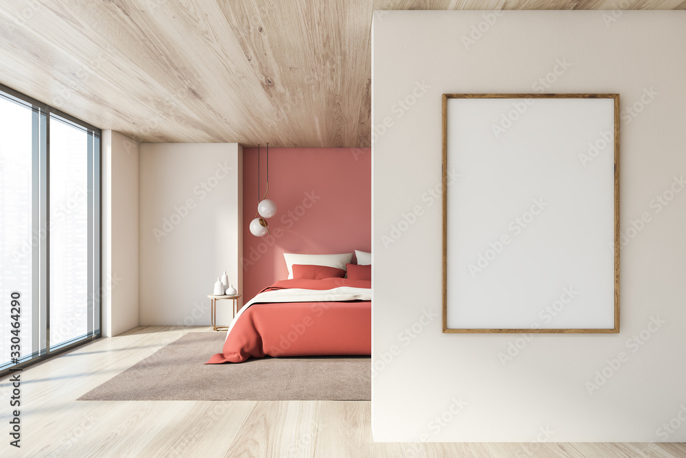 Fototapeta White and pink bedroom with vertical poster