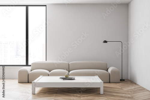 obraz dibond White living room interior with sofa