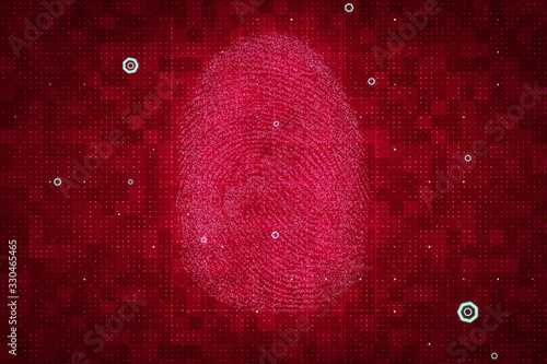 Red fingerprint, authentication and security Canvas Print