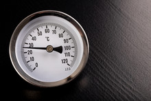 Technical Thermometer For Temperature Measurement. Clock Scale For Temperature Reading.