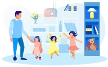 Young Father Holding Hands With His Daughter Toddler. Two Girls, Sisters Or Friends, Fooling Around, Dancing And Jumping High In Spacious Nursery With Shelving, Night Lamp And Soft Teddy Bear.