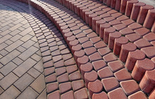 Steps Made Of Rounded Red Pavi...