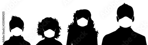 Fotografía Set of vector silhouette of anonymous people with medical mask on white background
