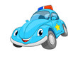 Funny cartoon police car. A blue car on a white background.