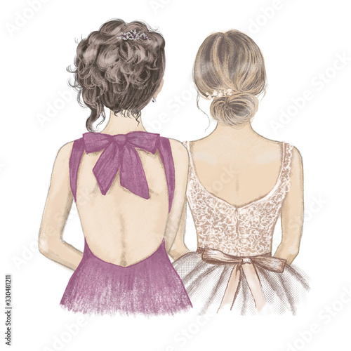 Two girls in fancy dresses side by side, back view Fototapet