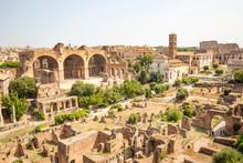 A View Over The Roman Forum Including The Basilica Of Maxentius And Constantine (Basilica Di Massenzio), Rome, Lazio, Italy