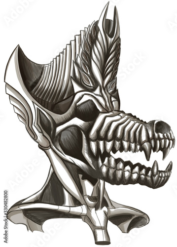 The skull of a Jackal with a large mouth, a neck, a large crown on its head, with small eyes and small leaves in the crown, reminiscent of the ancient Egyptian God of the afterlife, Anubis Wallpaper Mural