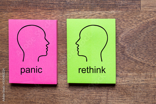 panic and contradicted rethink is written on purple and green notes stickers, ea Wallpaper Mural