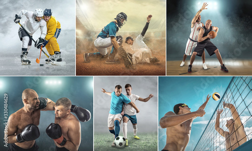 obraz PCV Collage of sports shots of soccer, football, beach volleyball, baseball and athletic jumper. All athletes in dynamic actions.