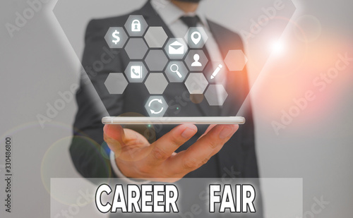 Conceptual hand writing showing Career Fair Fototapeta