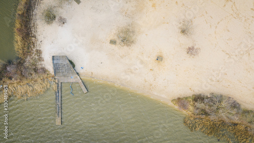 Photo coast beach on the ijmeer in holland, netherlands, almere, flevoland shot from a