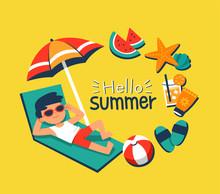 Summer Time. A Boy Sunbathing ...