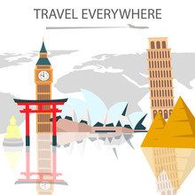World Tour, Vacation Color Vector Travel Poster. Famous Landmarks On Globe Background. Continents Flat Drawing With Lettering. Big Ben, Torii Gate. Tourist Attractions Reflection On Glass Surface