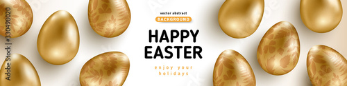 Fototapeta Easter horizontal banner with gold ornate eggs on white background. Vector illustration. Place for your text. Golden floral pattern. Greeting card trendy design or invitation template obraz