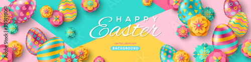 Obraz Easter horizontal banner with ornate eggs and paper cut flowers on geometric background. Vector illustration. Place for your text. Greeting card trendy design or invitation template - fototapety do salonu