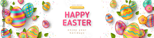 Obraz Easter horizontal banner with ornate eggs and green spring leaves on white background. Vector illustration. Place for your text. Greeting card trendy design or invitation template - fototapety do salonu