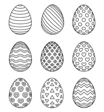Easter Eggs Set With Different...
