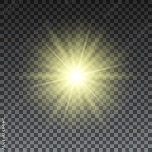 Yellow sun rays on transparent background Wallpaper Mural