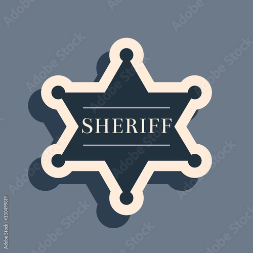 Valokuva Black Hexagonal sheriff star icon isolated on grey background