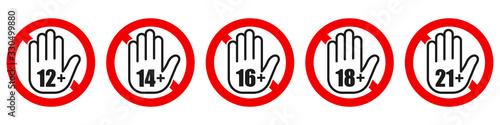 Photo Set of age restriction signs. Age limit concept.