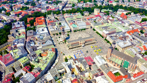 Fototapeta Krakow, Poland. Main Square. Big city square of the 13th century. View of the historic center, Aerial View obraz na płótnie