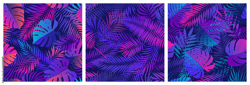 Fototapeta Set of seamless patterns with tropical exotic leaves and plants, vector set in ultraviolet shades, with neon reflections of pink and blue colors