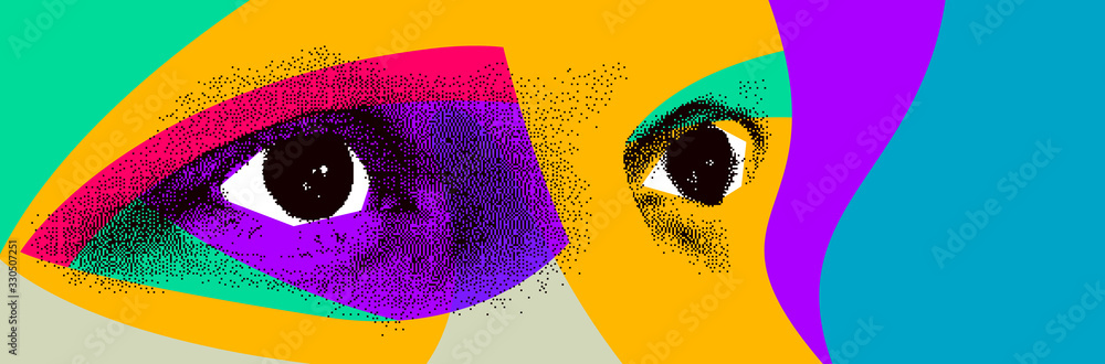 Fototapeta Looking eyes 8 bit dotted design style vector abstraction, human face stylized design element, with colorful splats.
