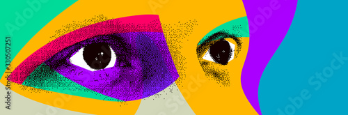 Fototapeta Looking eyes 8 bit dotted design style vector abstraction, human face stylized design element, with colorful splats