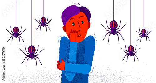 Arachnophobia fear of spiders vector illustration, boy surrounded by spiders scared in panic attack, psychology mental health concept Wallpaper Mural