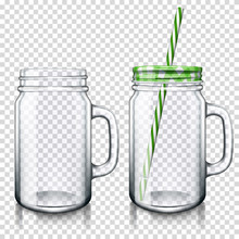 Transparent Mason Jar Drinking...