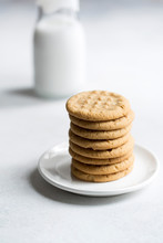 Peanut Butter Cookies Stacked On A Small Plate.