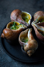 Giant Snails Escargots Baked With Butter, Garlic And Parsley