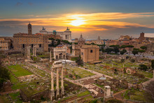 Architecture Of The Roman Forum In Romeat Sunest, Italy