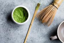 Matcha Tea Powder In A Ceramic...