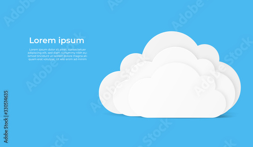Cloud computing technology with bank white cloud shape. paper art vector illustration