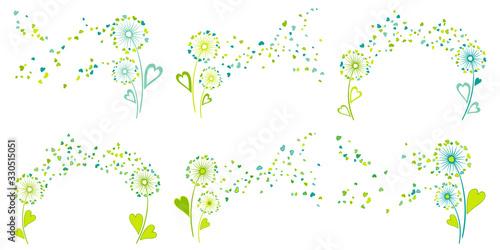 Photo Blue teal green vector dandelion herbs, meadow flowers illustration