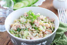 Smoked Chicken Salad With Fresh Cucumber In A White Bowl, Selective Focus