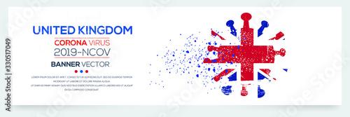 United Kingdom flag with corona virus Symbol, (2019-nCoV), vector illustration.