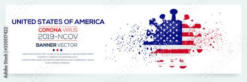 United States of america flag with corona virus Symbol, (2019-nCoV), vector illustration.