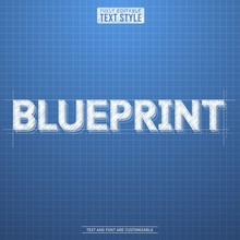 Blueprint Rough Sketch Blue Background Editable Text Effect