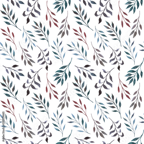 Fototapety, obrazy: Seamless pattern with sprigs with leaves. Hand-drawn watercolor painting. Design for wrapping paper, cards, invitations. Creative background image.