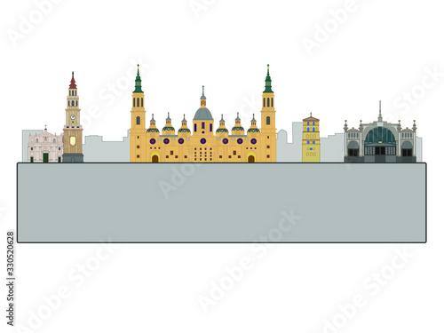 Zaragoza city skyline in Spain