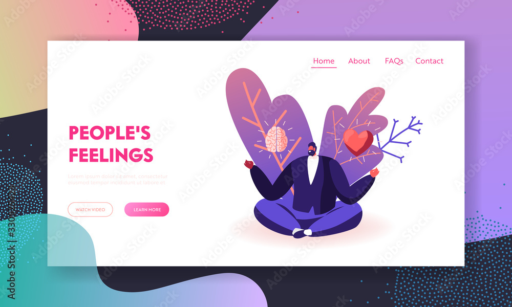 Fototapeta Male Character Making Life Decision Landing Page Template. Young Man Sitting in Meditative Lotus Posture with Brain and Heart in his Hands Choose between Feelings and Mind. Cartoon Vector Illustration