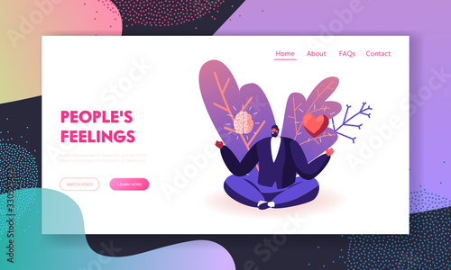 Obraz Male Character Making Life Decision Landing Page Template. Young Man Sitting in Meditative Lotus Posture with Brain and Heart in his Hands Choose between Feelings and Mind. Cartoon Vector Illustration - fototapety do salonu
