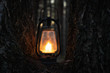 canvas print picture - Mystical scene with old kerosene lamp in the forest. Vintage gas lantern lighting. Copy space.