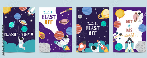 Obraz Collection of space background set with astronaut, planet, moon, star,rocket.Editable vector illustration for website, invitation,postcard and sticker - fototapety do salonu