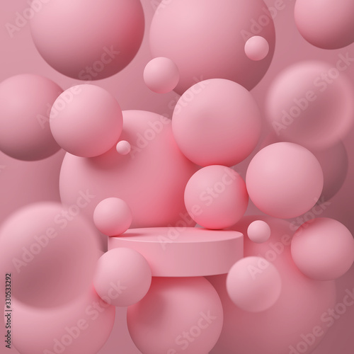 Fototapeta abstract background for product presentation, podium display, minimal pastel scene, 3d rendering. obraz