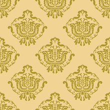 Classic Seamless Damask Pattern. Wallpaper Or Fabric In Vector